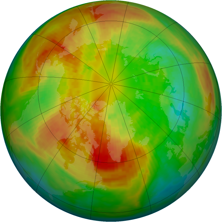 Arctic ozone map for 08 March 1992
