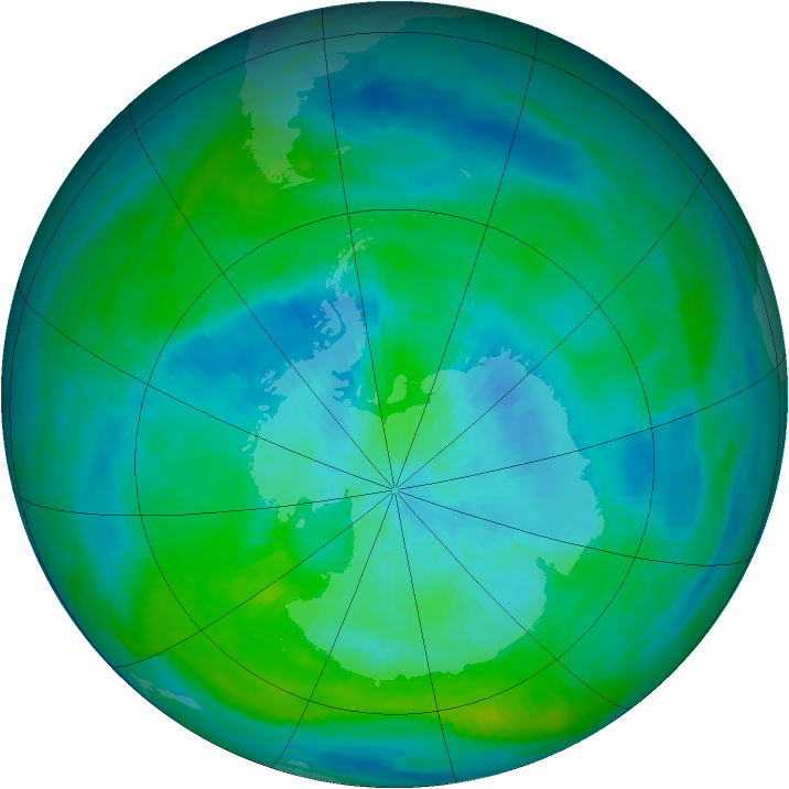 Antarctic ozone map for 09 March 1992