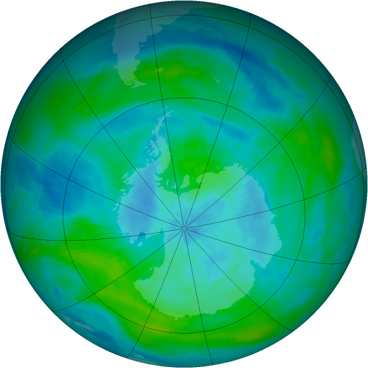 Antarctic ozone map for 11 March 1992