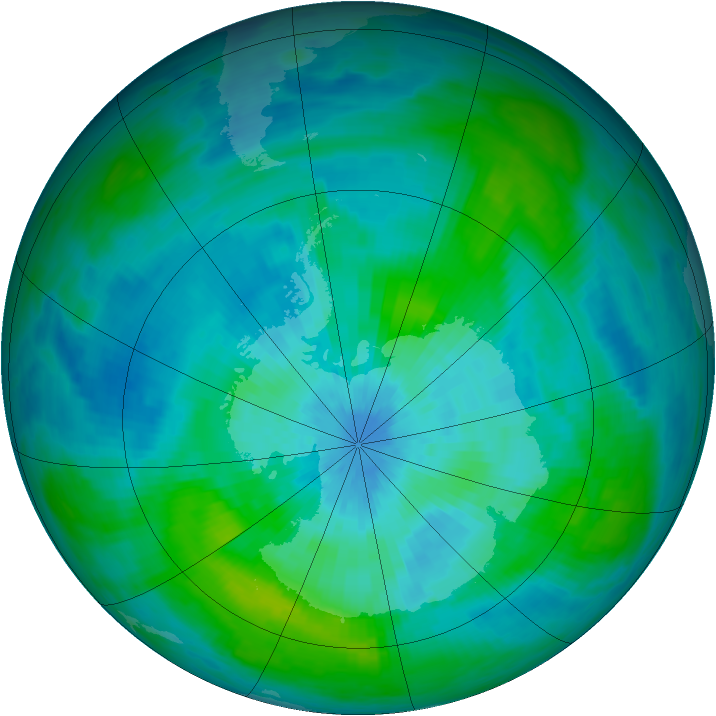 Antarctic ozone map for 14 March 1992