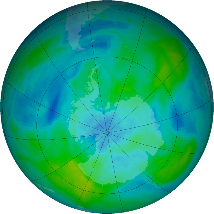 Antarctic ozone map for 15 March 1992
