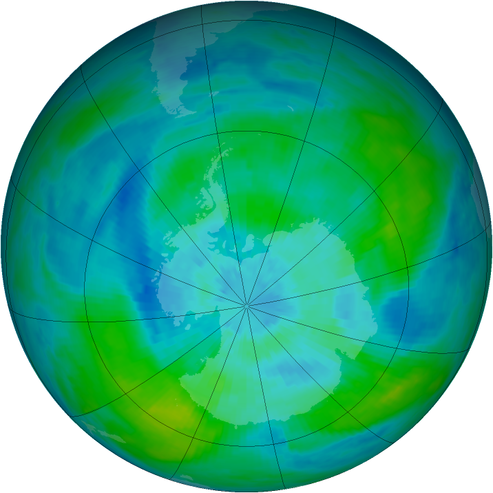 Antarctic ozone map for 16 March 1992