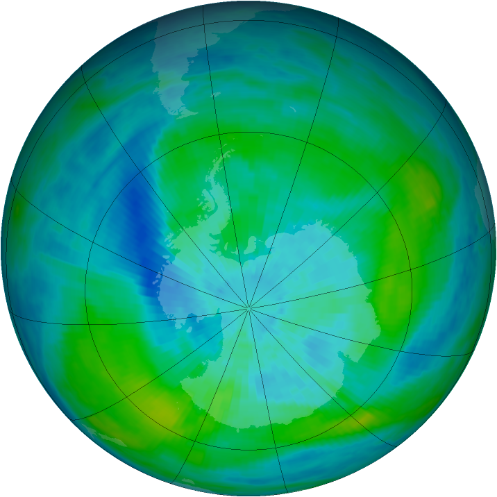 Antarctic ozone map for 17 March 1992