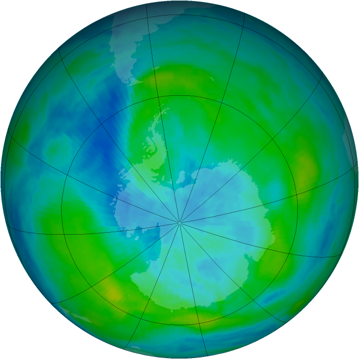 Antarctic ozone map for 18 March 1992