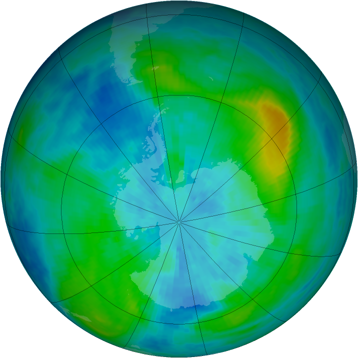 Antarctic ozone map for 21 March 1992