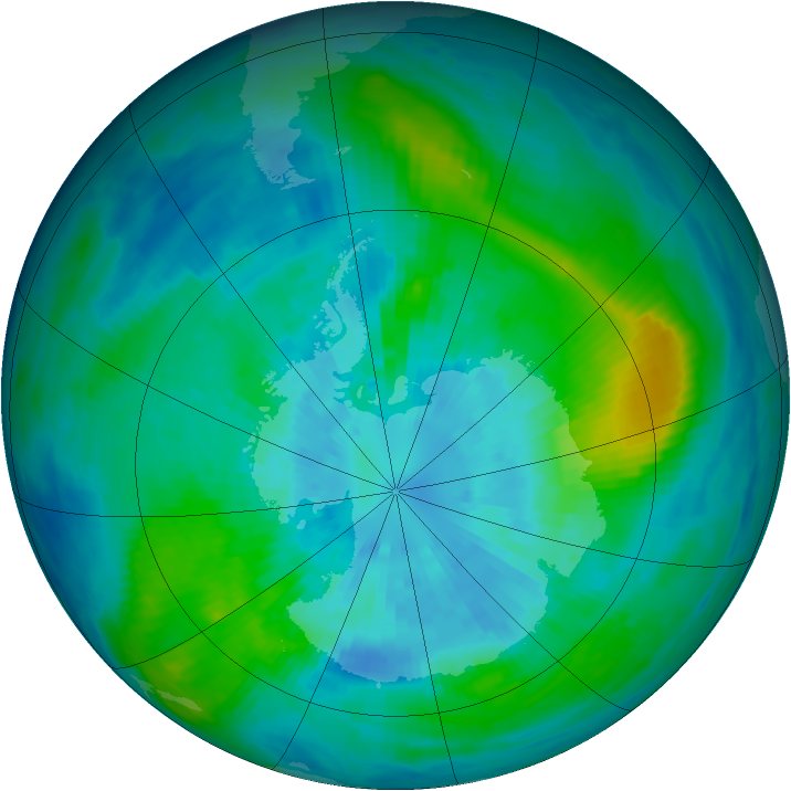 Antarctic ozone map for 22 March 1992