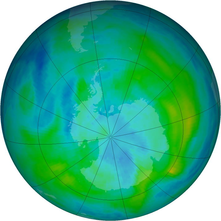 Antarctic ozone map for 25 March 1992