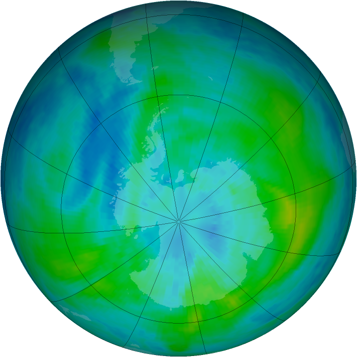 Antarctic ozone map for 26 March 1992