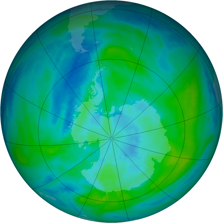 Antarctic ozone map for 27 March 1992
