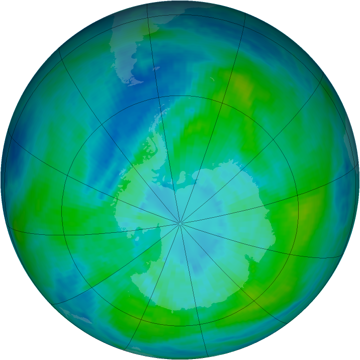Antarctic ozone map for 28 March 1992