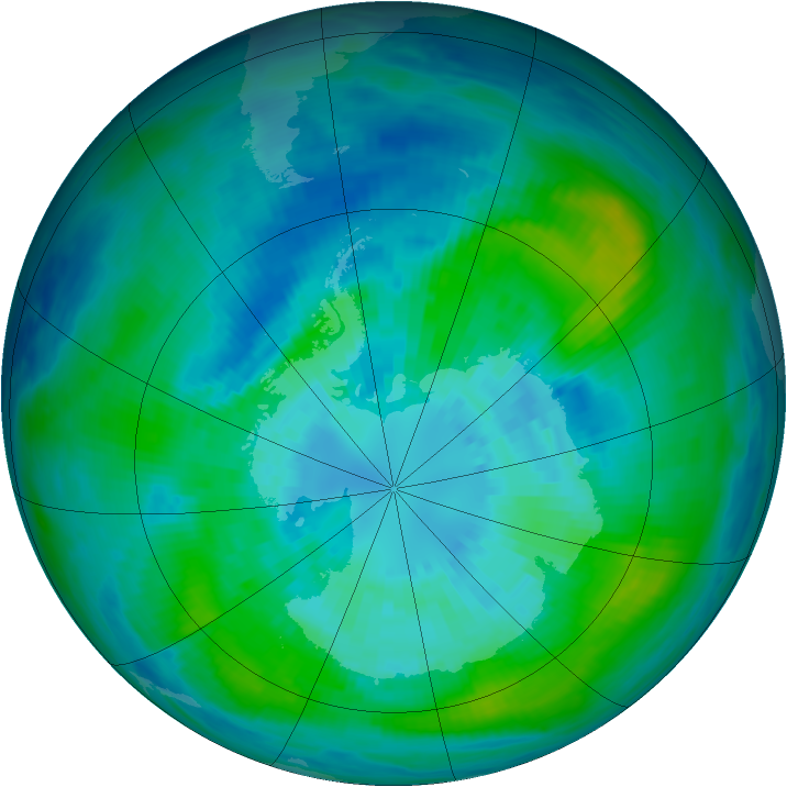 Antarctic ozone map for 29 March 1992