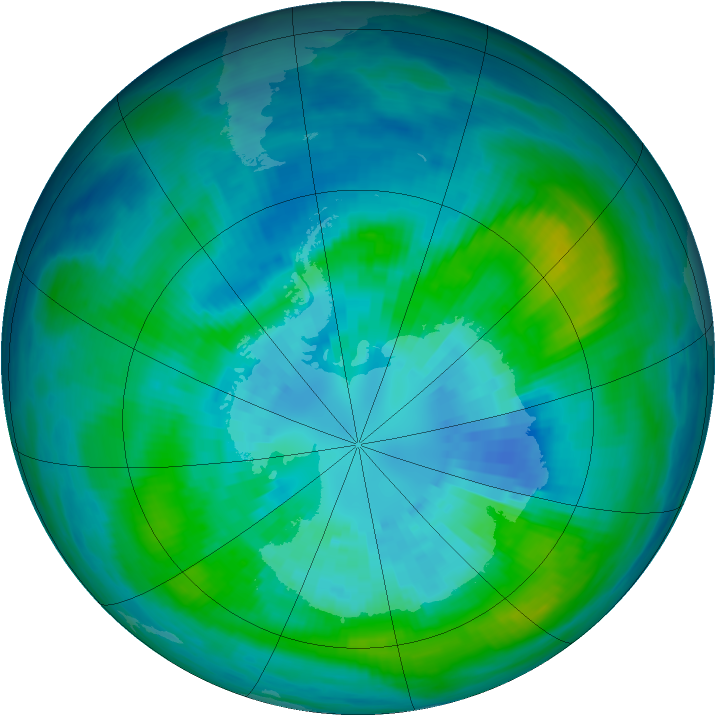 Antarctic ozone map for 30 March 1992