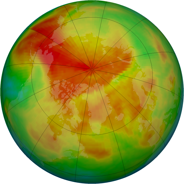 Arctic ozone map for 31 March 1992
