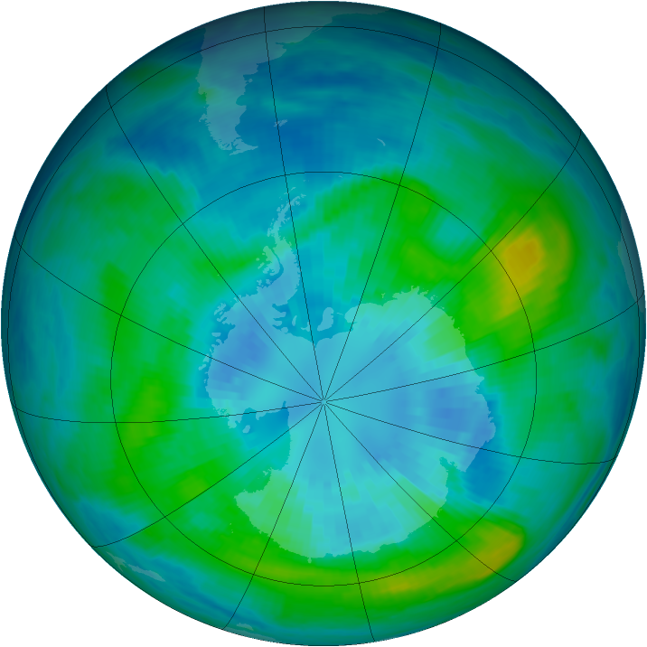 Antarctic ozone map for 31 March 1992