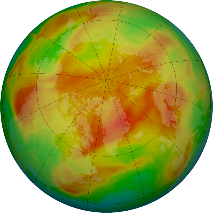 Arctic ozone map for 05 April 1992