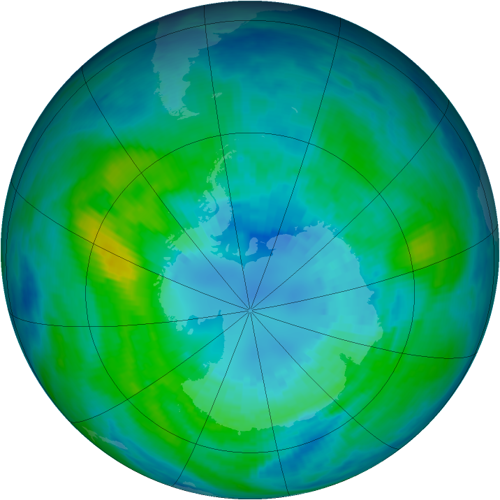 Antarctic ozone map for 06 April 1992