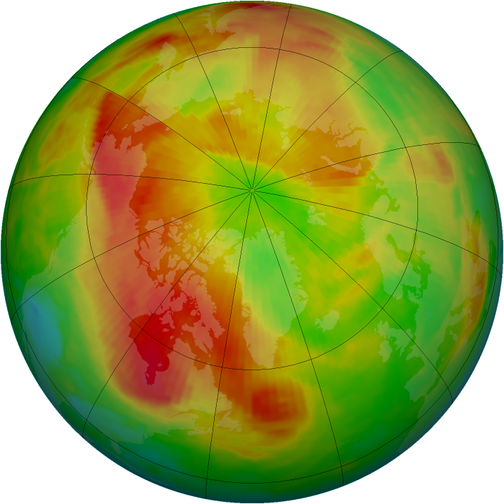 Arctic ozone map for 12 April 1992