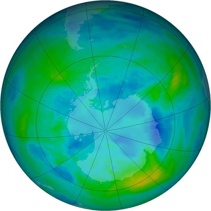 Antarctic ozone map for 15 April 1992