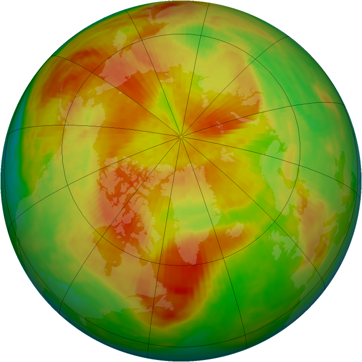Arctic ozone map for 16 April 1992