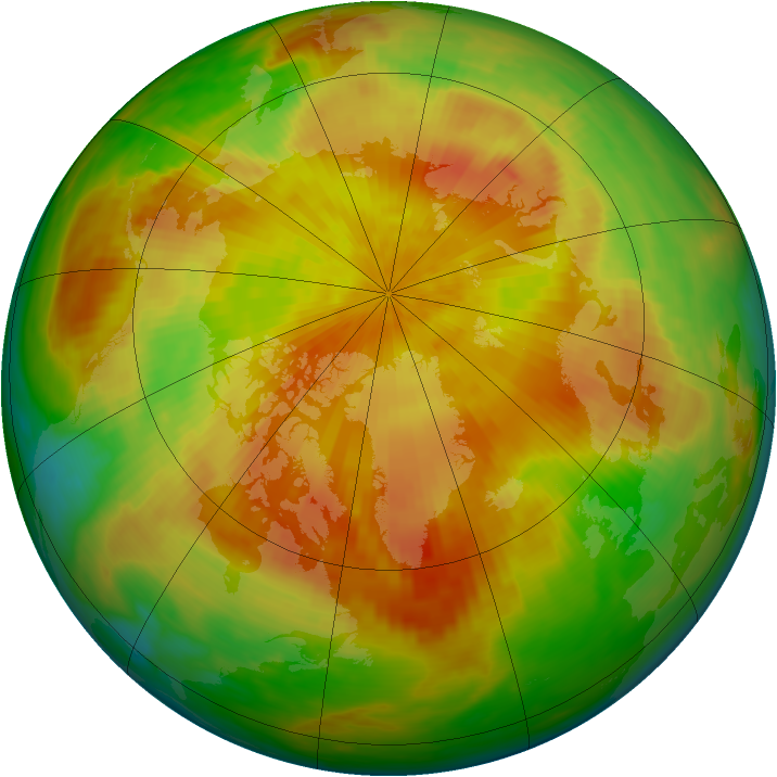 Arctic ozone map for 20 April 1992