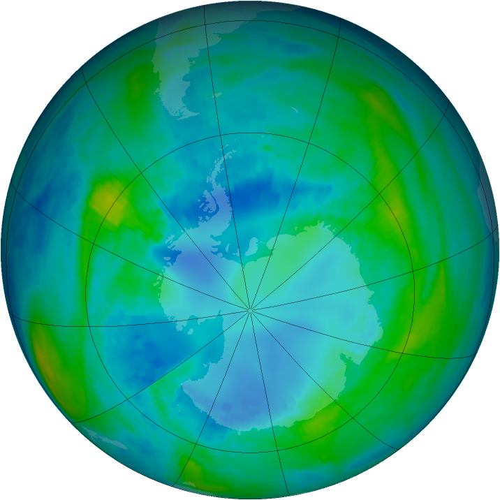 Antarctic ozone map for 21 April 1992