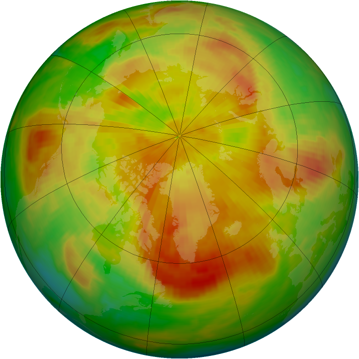 Arctic ozone map for 22 April 1992