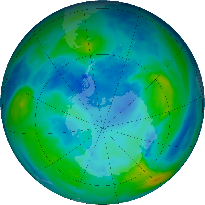 Antarctic ozone map for 24 April 1992