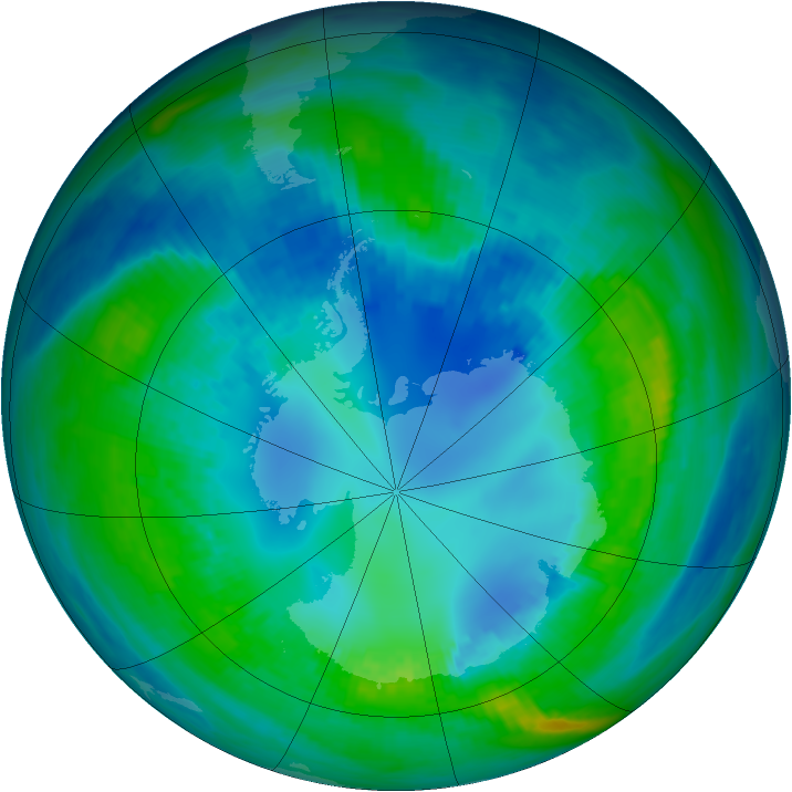 Antarctic ozone map for 25 April 1992