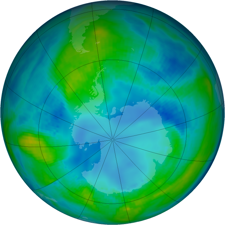 Antarctic ozone map for 01 May 1992
