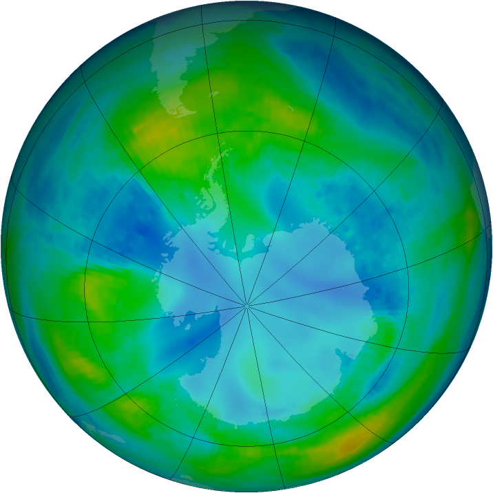 Antarctic ozone map for 02 May 1992