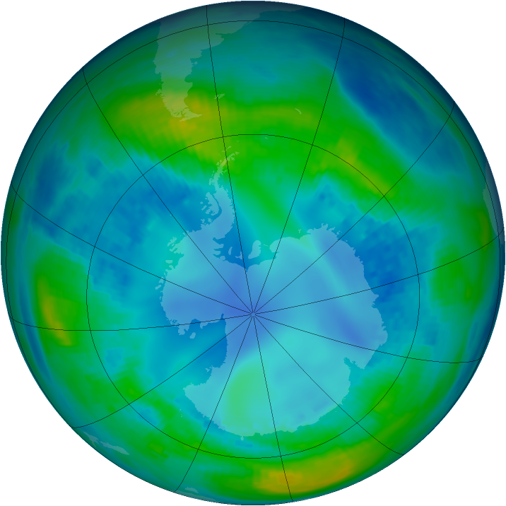 Antarctic ozone map for 03 May 1992