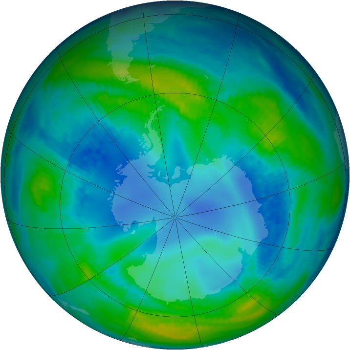 Antarctic ozone map for 04 May 1992