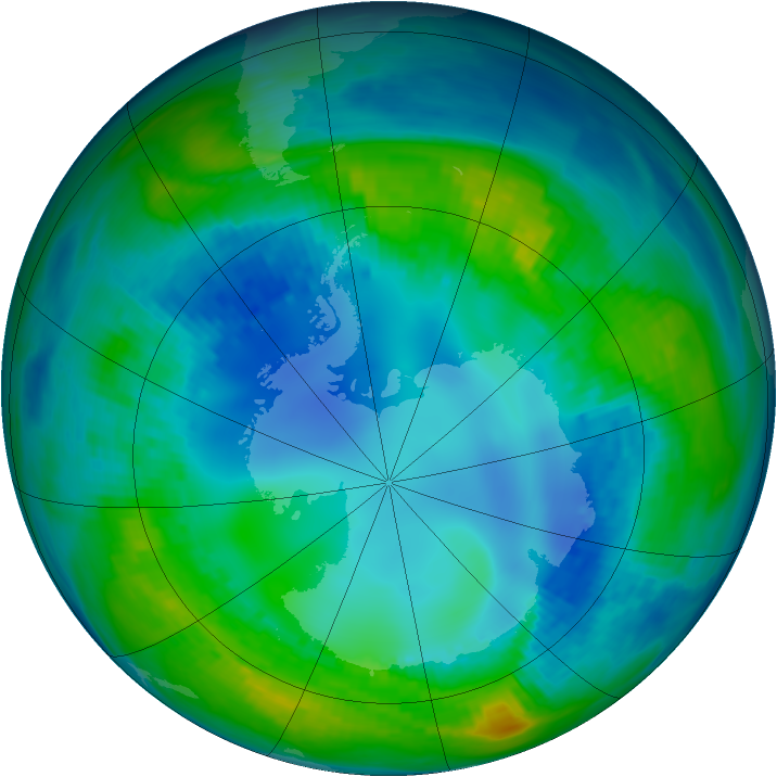 Antarctic ozone map for 05 May 1992