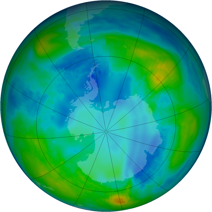 Antarctic ozone map for 06 May 1992