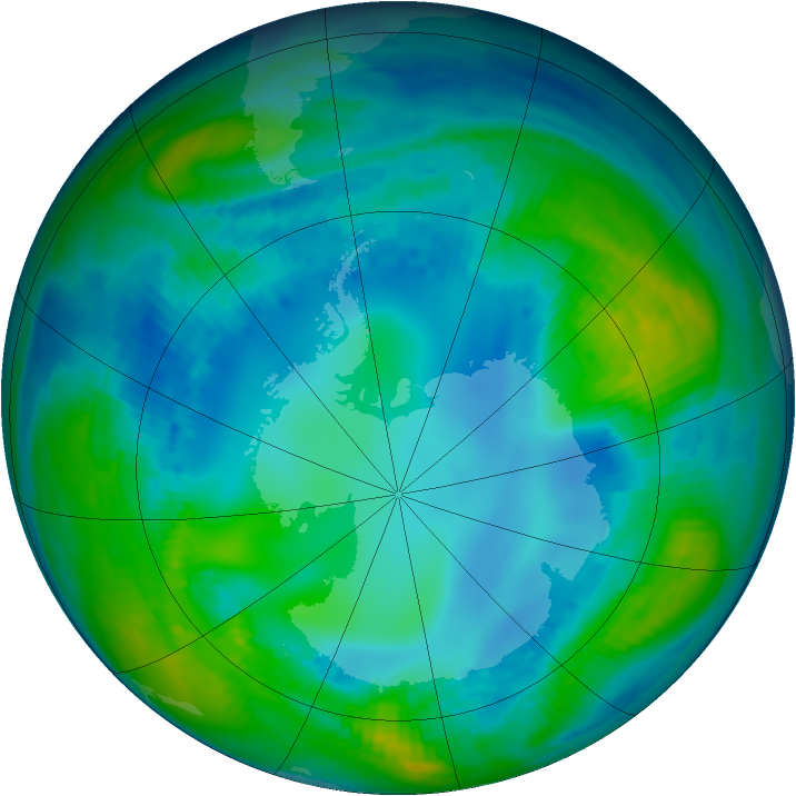 Antarctic ozone map for 07 May 1992