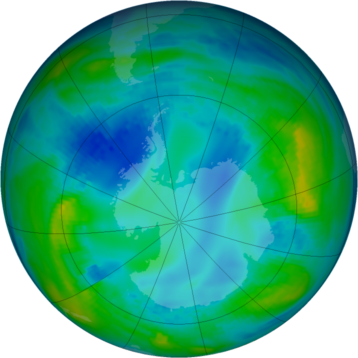 Antarctic ozone map for 08 May 1992