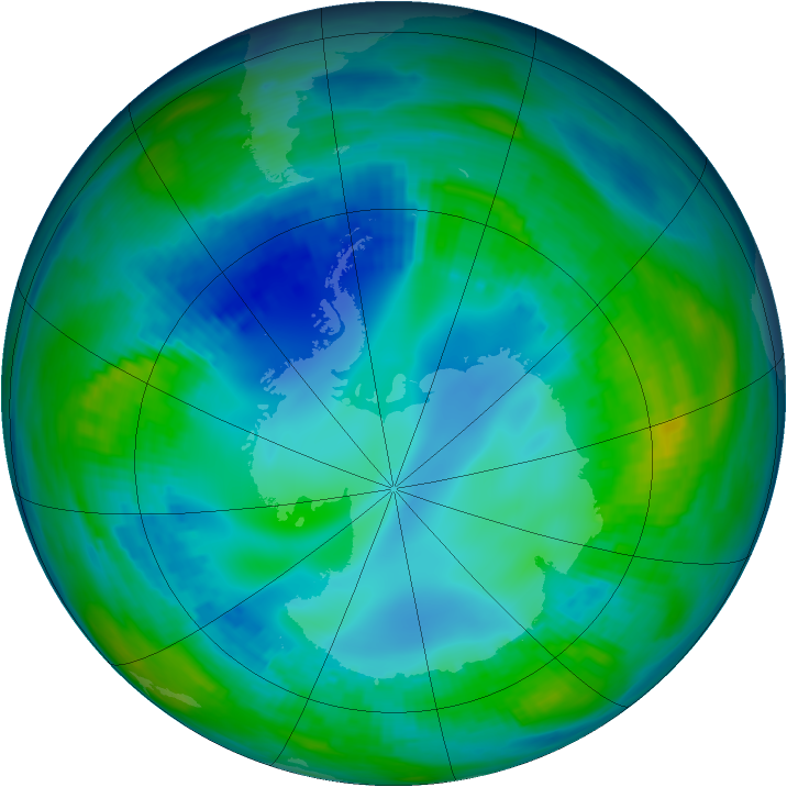 Antarctic ozone map for 09 May 1992