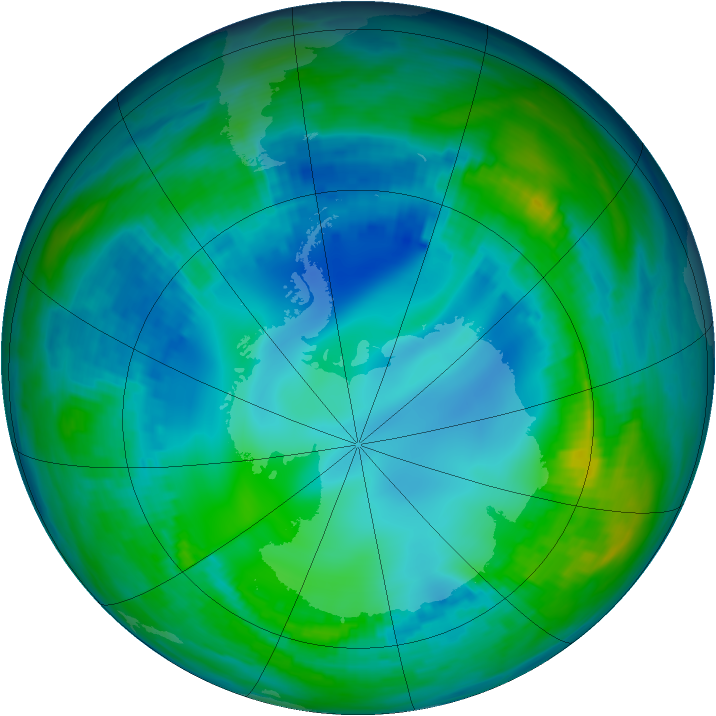 Antarctic ozone map for 12 May 1992