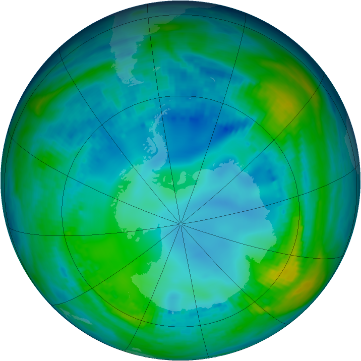 Antarctic ozone map for 13 May 1992