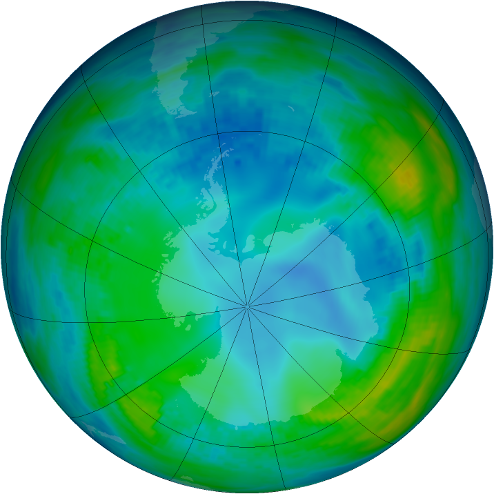 Antarctic ozone map for 14 May 1992
