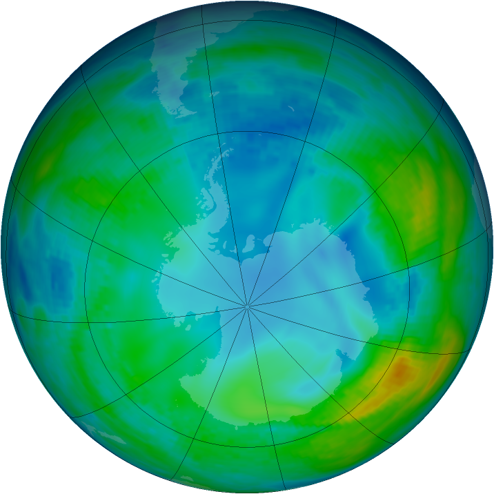 Antarctic ozone map for 15 May 1992