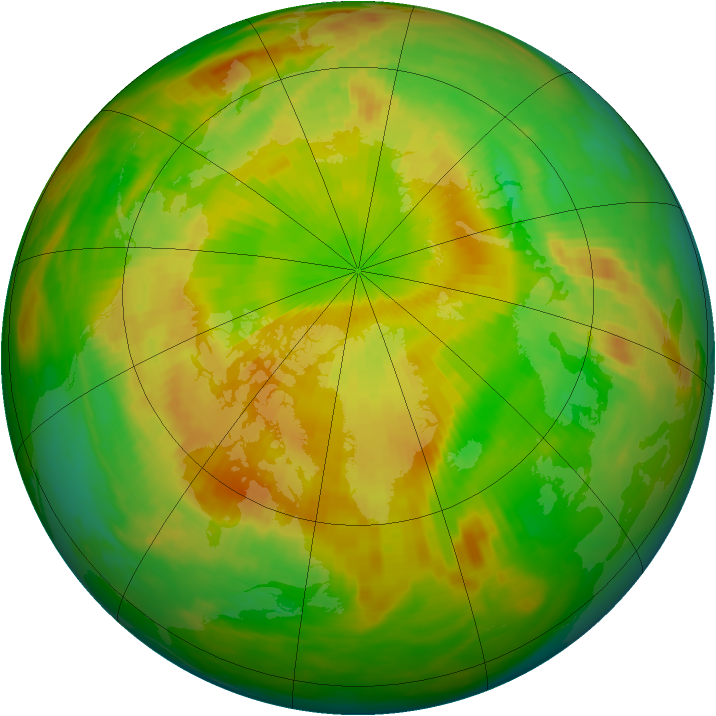 Arctic ozone map for 17 May 1992