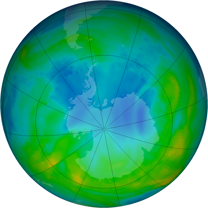 Antarctic ozone map for 17 May 1992
