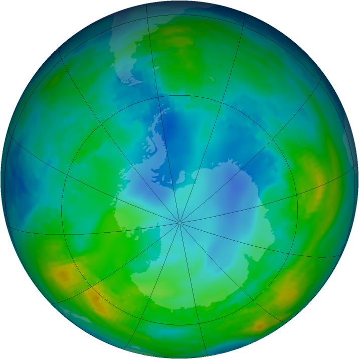 Antarctic ozone map for 18 May 1992