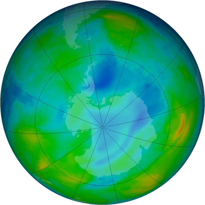 Antarctic ozone map for 19 May 1992