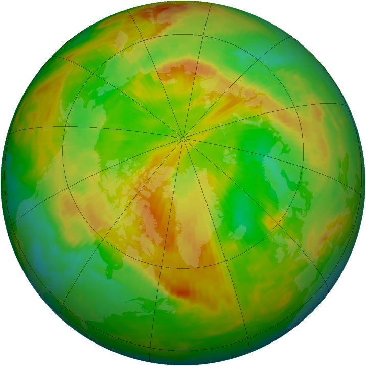 Arctic ozone map for 22 May 1992