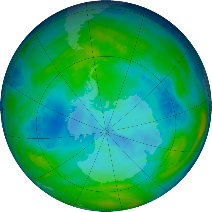 Antarctic ozone map for 22 May 1992