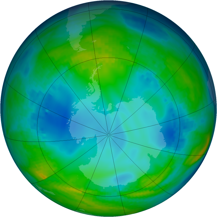 Antarctic ozone map for 23 May 1992