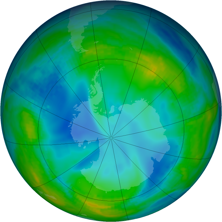 Antarctic ozone map for 25 May 1992