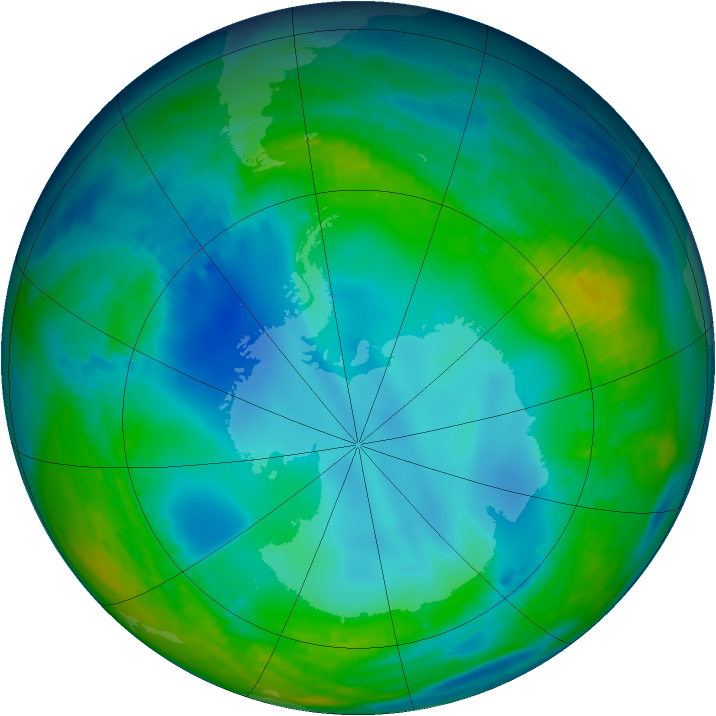 Antarctic ozone map for 26 May 1992